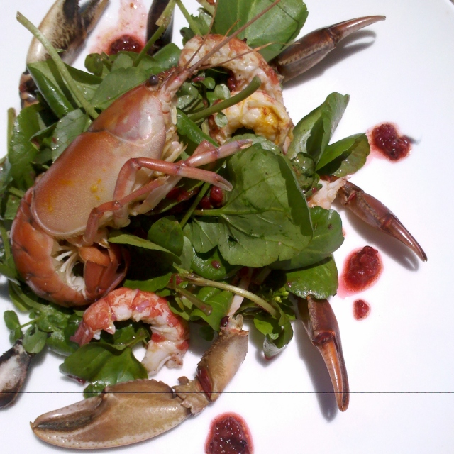 Yabby salad with finger lime and pepperberry dressng