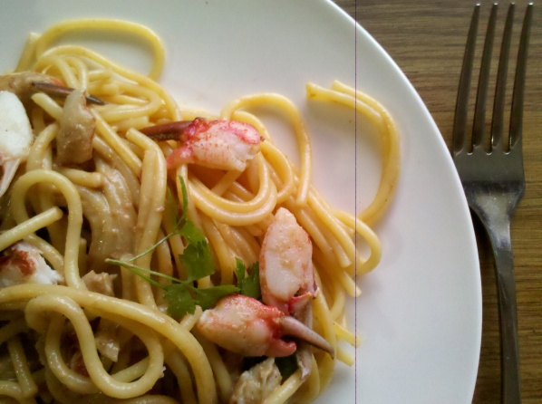Yabby claws with kutjera and spaghetti