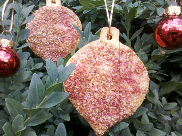 Strawberry and vanilla sugar cookie Christmas baubles