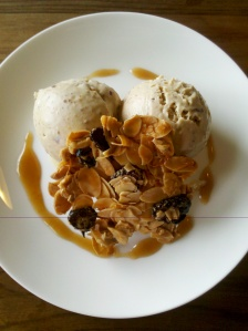 Christmas pudding ice cream with brandy caramel sauce and a Florentine