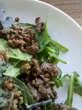 Warm peppery salad with beef and lentils