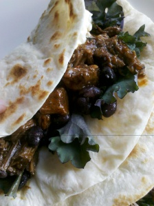 Spicy pulled beef tortillas