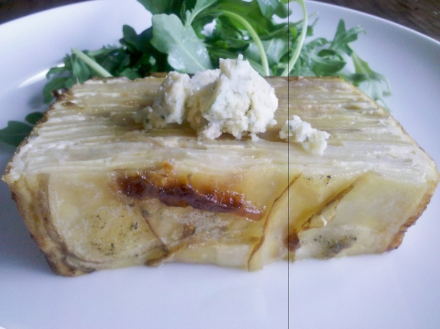 Stilton, potato and onion slice
