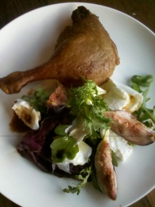 Honey smoked duck with a salad of fig and buffalo mozzarella