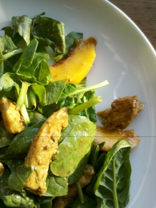 Peach and sorrel salad with honey mustard chicken