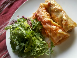 Chicken and herb cannelloni serve with salad