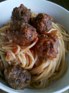 Hidden treasure spaghetti and meatballs