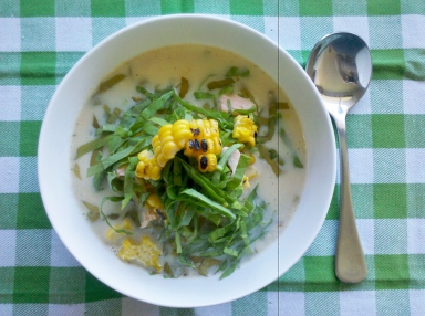 Sweet corn and salmon soup with sorell