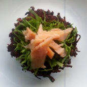 Beetroot patties with shredded sorell and smoked trout