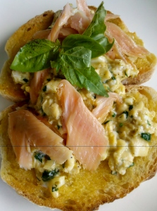 Srambled eggs with smoked trout and celery heart
