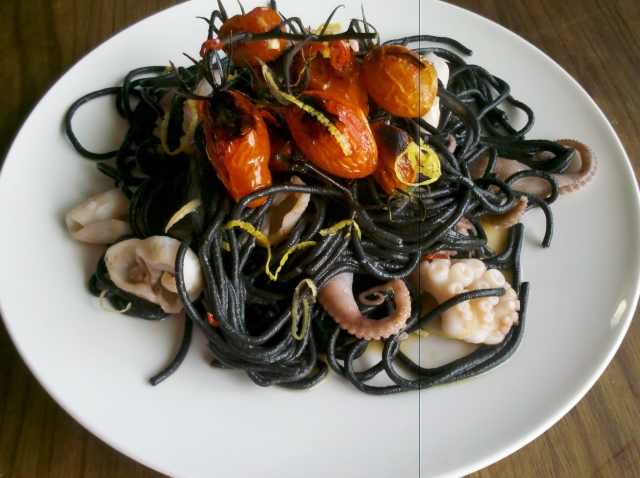 Squid ink spaghetti with baby octopus, roasted tomatoes, lemon and chilli