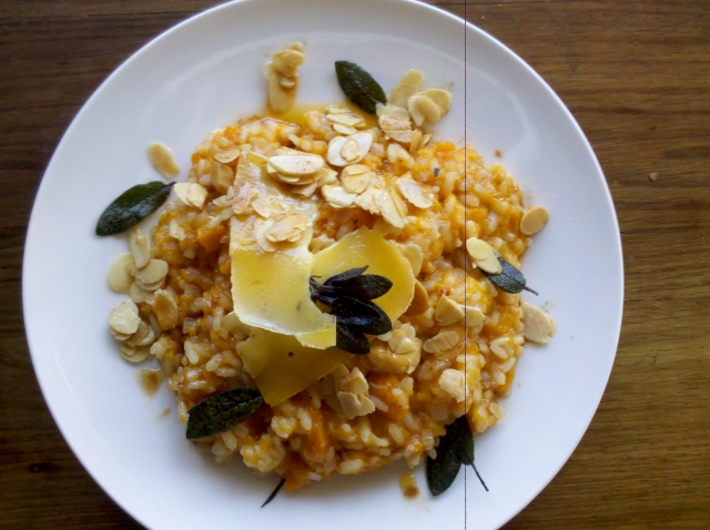 Pumpkin risotto with burnt butter, toasted almonds, crisp sage and C2