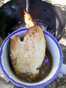 French onion soup, outdoors