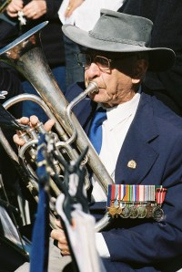 Gradpa playing in the Hobart Veteran's Brass Band, 25 April 2011