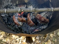 Smoke the ribs over the fire for a bit