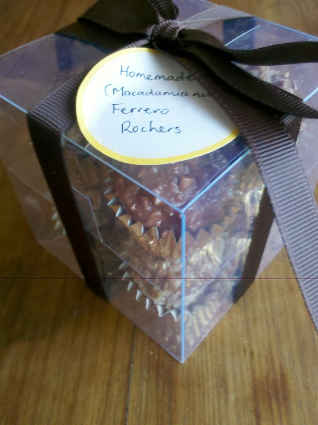 Homemade (Macadamia) Ferrero Rochers gift wrapped for Mother's Day