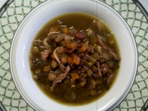 Ham soup with vegetables, lentils and other beans