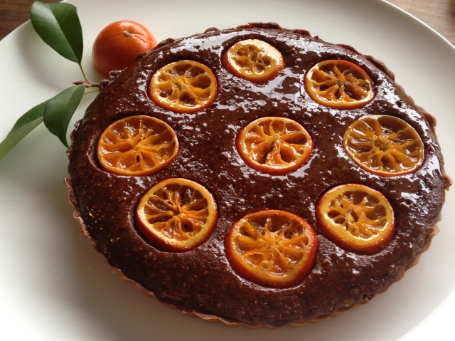 Mandarin chocolate frangipane tart