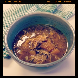 Moroccan chicken and pumpkin soup