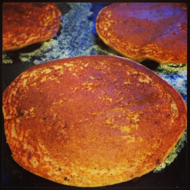 Chestnut pancakes in the pan