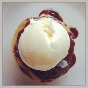 Chestnut pancake stack with truffled chocolate ganache and vanilla bean ice cream