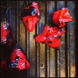 Red chillies roasting