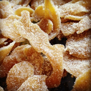 Crystalised ginger in raw sugar