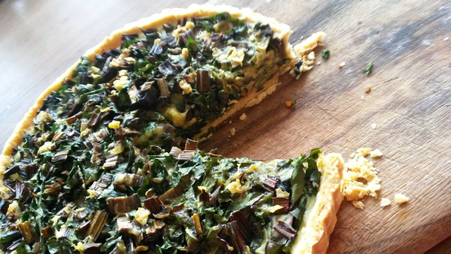 Silverbeet quiche with young garlic in a parmesan shortcrust