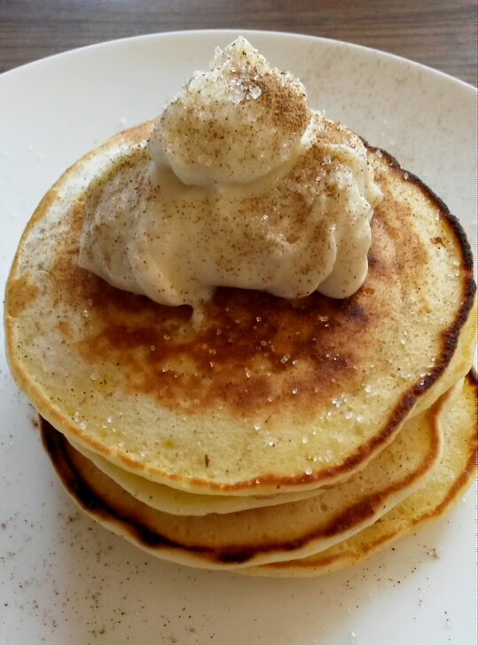 Banana pancakes with honey ricotta