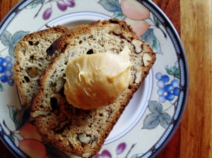 Toasted banana bread with malt butter