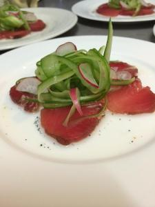 Cacao cured tuna with Tahitian vanilla dressing (photo courtesy of Little Train Marketing Solutions)