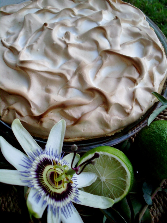 Lime and passionfruit meringue pie