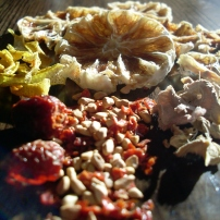 Sniffle snuffer teabag: dried lemon slices, dried ginger, dried wild rosehips (crushed and whole), dried lemon zest.