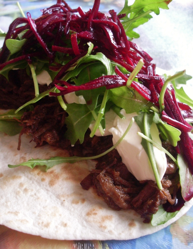 Pulled beef tacos with pickled beetroot