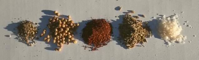 Prawn spice mix: black pepper, coriander, mulato chilli, cumin, salt