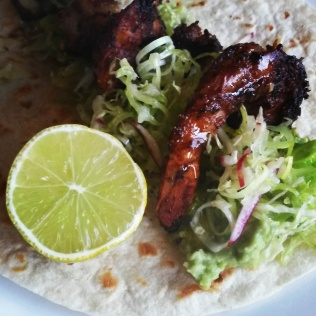 Prawn taco with fresh slaw