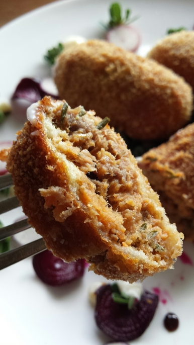 Sweet potato, roo tail and native herb croquettes