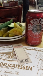 Pickles (L-R: half sour, full sour, pickled tomato), Black Cherry soda, my ticket