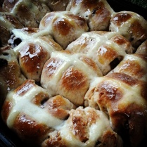 My American hot cross buns fresh from the oven