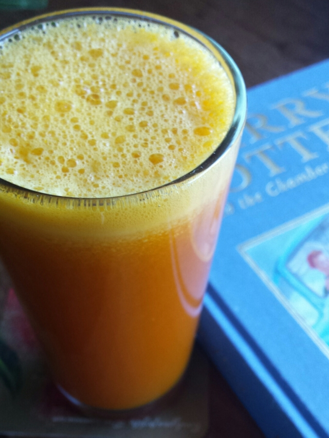 Harry Potter and a glass of fresh, icy pumpkin juice