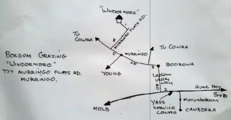 Map to 'Windermere', the Boxgum Grazing farm