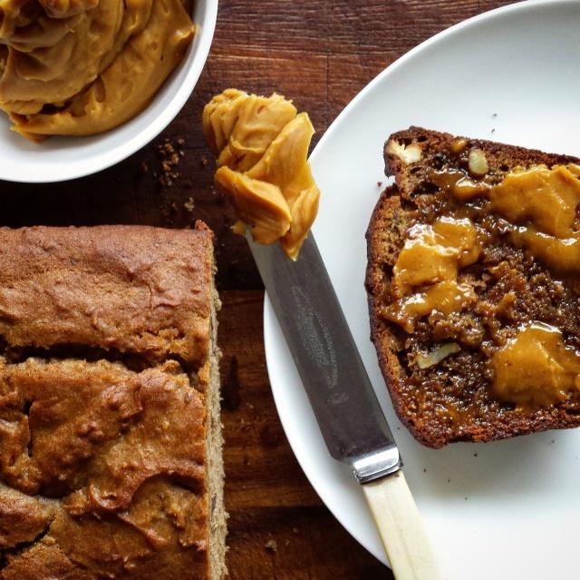 Buckwheat banana bread with malt butter spread